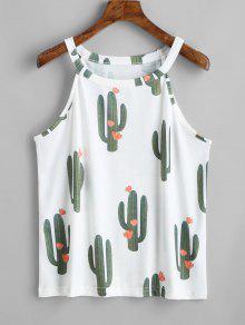 Cactus Imprimir Cuello Redondo Sin Mangas - Blanco L