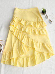 تنورة غير متماثلة الكشكشة ميدي - الأصفر L