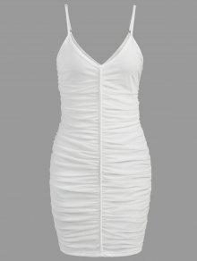 فستان بشبك بنمط مزموم - أبيض L