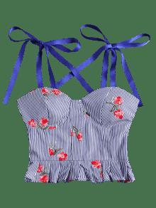 Mangas Volantes Florales Azul Top Con Rayas L Sin De 5qtBBx