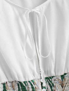 M Floreada Con Floral Blusa Blanco Corbata SaW0qn4c