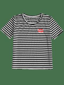 De Labios Cuello Con Estampado Raya Camiseta Redondo Y S Rayas Con w6BCqnxAng