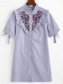 فستان مسنقيم مخطط مرقع بالأزهار - أزرق L
