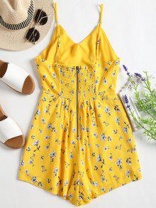 68deeae4a618 27% OFF  2019 Smocked Cut Out Floral Cami Romper In YELLOW