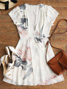 فستان مصغر لف طباعة الأزهار - أبيض M