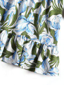 Floral Volantes Con Cintura Vestido Estampado Alta De L Floral De 5qHHxUw8