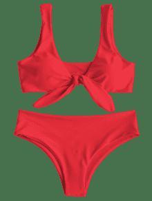 Front Knot Padded Bikini Set BRIGHT RED Bikinis M