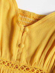 5b1da6a277b3 29% OFF   HOT  2019 Hollow Out A Line Cami Dress In YELLOW