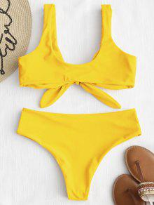 af715c341 24% OFF   HOT  2019 ZAFUL Tie Front Padded Bikini Set In YELLOW