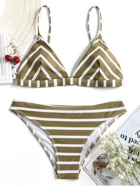 Juego de bikini rayado Chevron Cami - Blanco+Marrón S