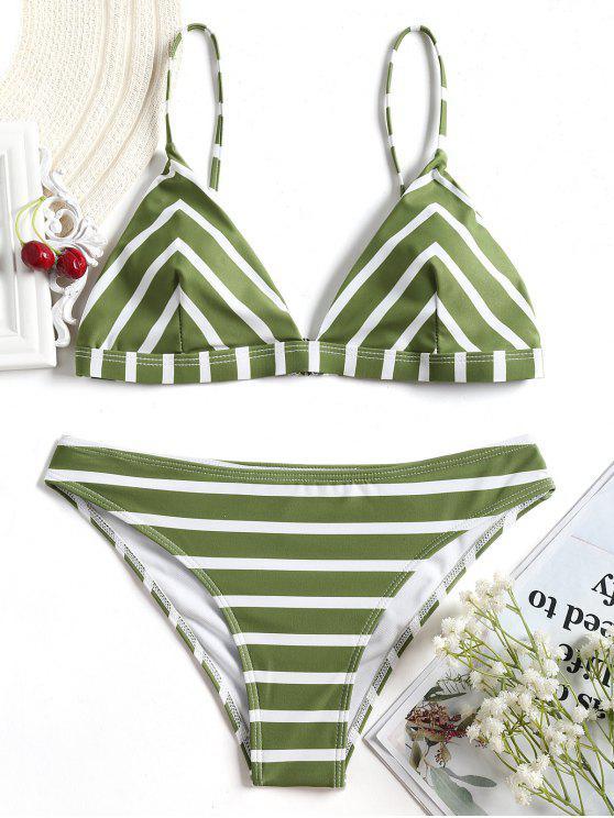 Chevron Gestreiftes Cami Bikini Set - Weiß und Grün S