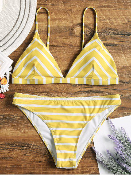 ladies Chevron Striped Cami Bikini Set - WHITE AND YELLOW L