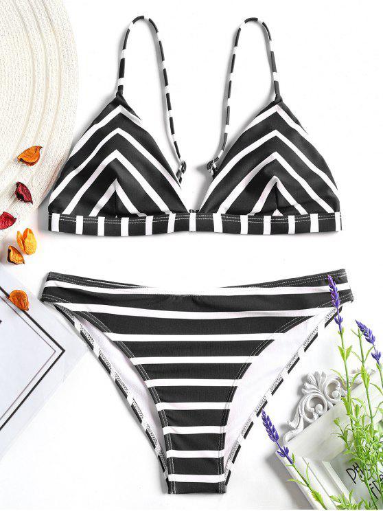 women Chevron Striped Cami Bikini Set - WHITE AND BLACK S