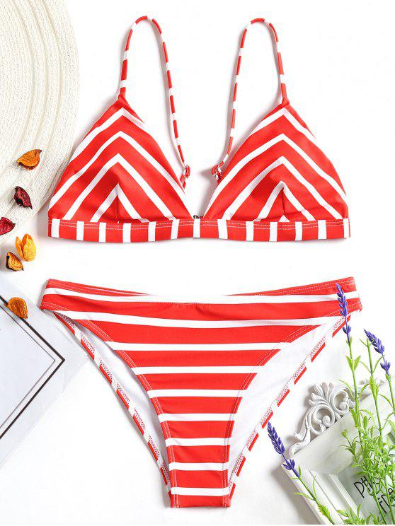 latest Chevron Striped Cami Bikini Set - RED AND WHITE S