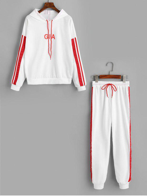 buy Ribbons Trim Letter Hoodie and Sports Pants Set - WHITE XL