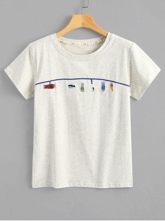 Cute fish embroidered t shirt light gray tees one size