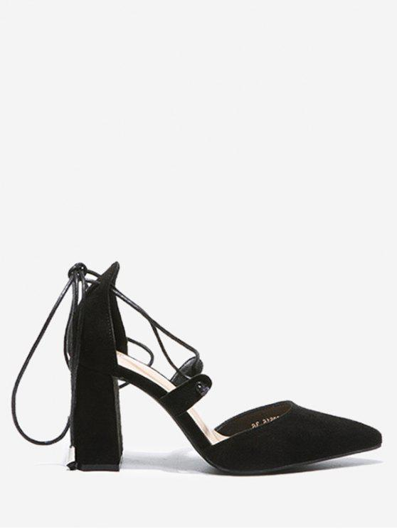 fashion Chunky Heel Lace Up Pumps - BLACK 38