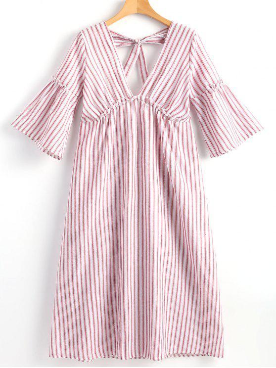فستان غارق الرقبة مخطط مفتوحة الظهر - أحمر XL