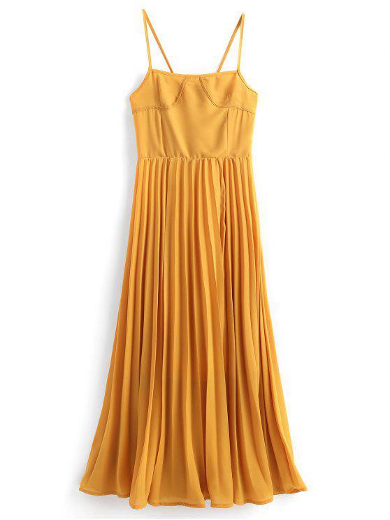 فستان كامي مطوي رباط عالية الخصر - ترابي XL
