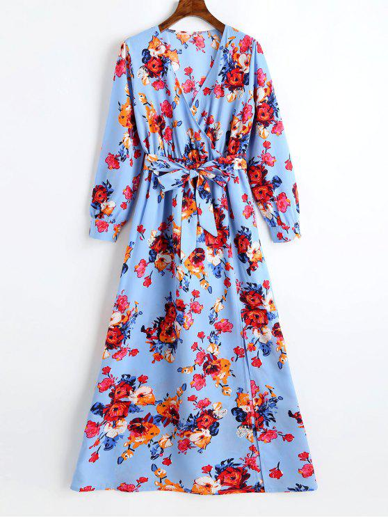 latest Plunging Neck Slit Floral Belted Maxi Dress - WINDSOR BLUE S