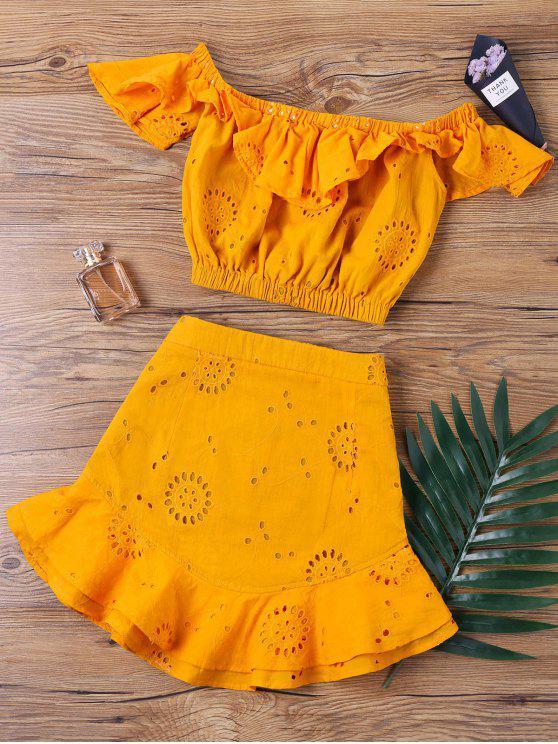 قبالة الكتف البسيطة التنورة اثنين من قطعة مجموعة - البرتقالي XL