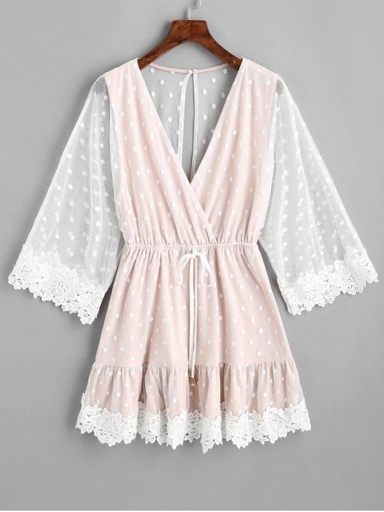 فستان مصغر البولكا نقطة محبوك - عارية الوردي L