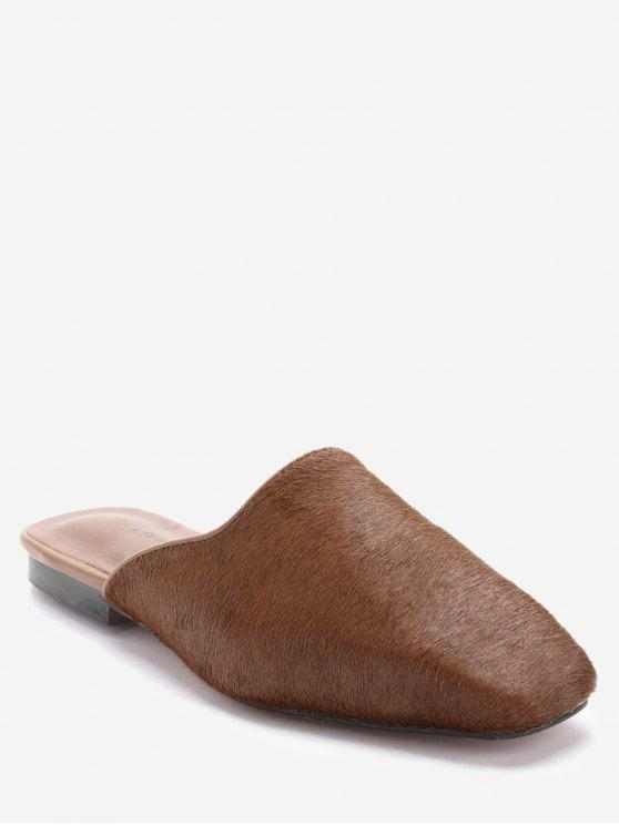 trendy Square Toe Loafers - BROWN 37