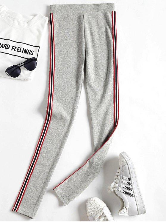 fancy Side Stripe Workout Pants - LIGHT GRAY ONE SIZE