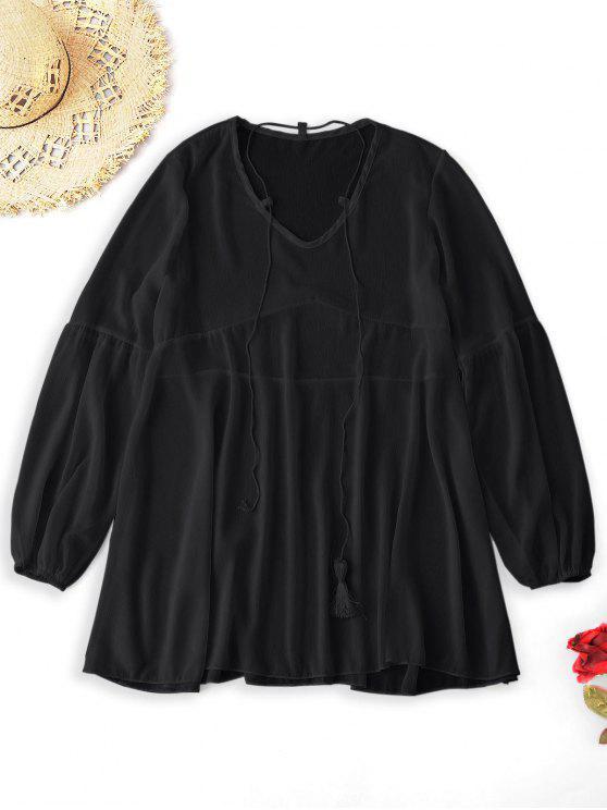 Robe de Plage en Mousseline - Noir Taille Unique