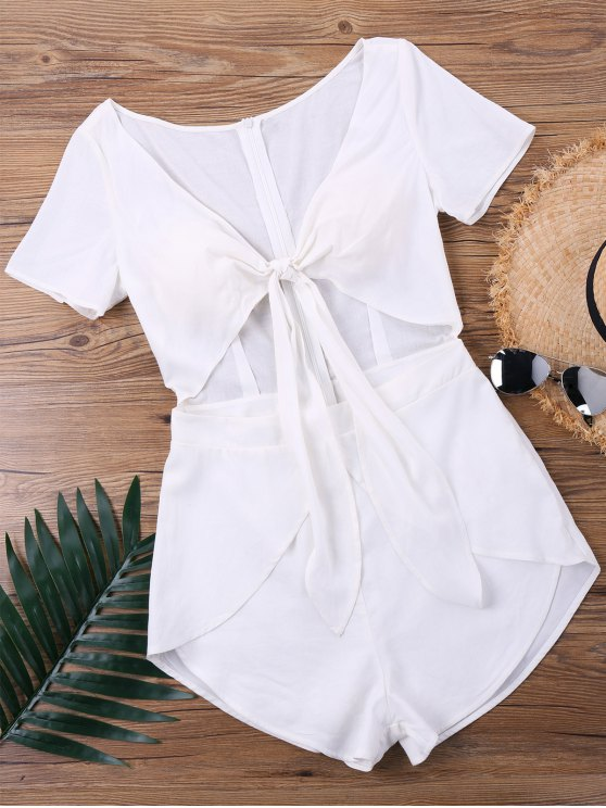 outfit Low Cut Knot Front Tulip Romper - WHITE XL