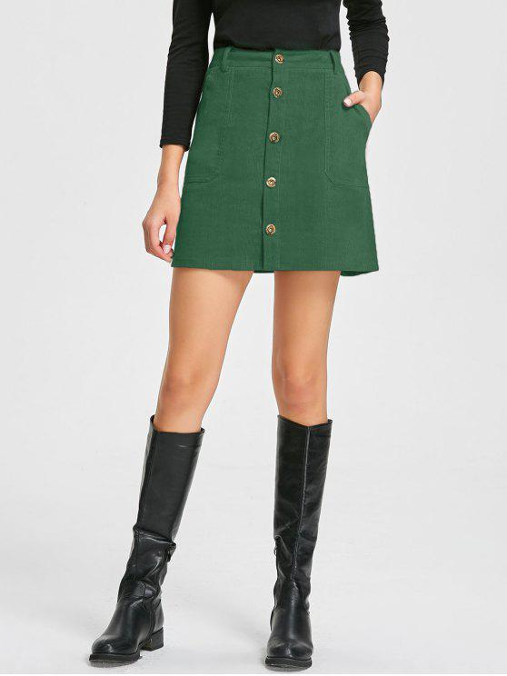 shops Patch Pockets A-line Corduroy Skirt - GREEN L
