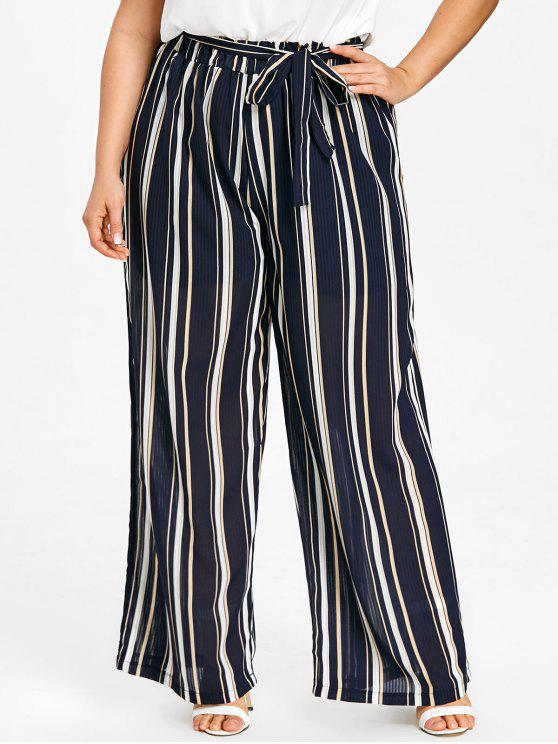 women's Striped Plus Size Palazzo Pants - DEEP BLUE 3XL