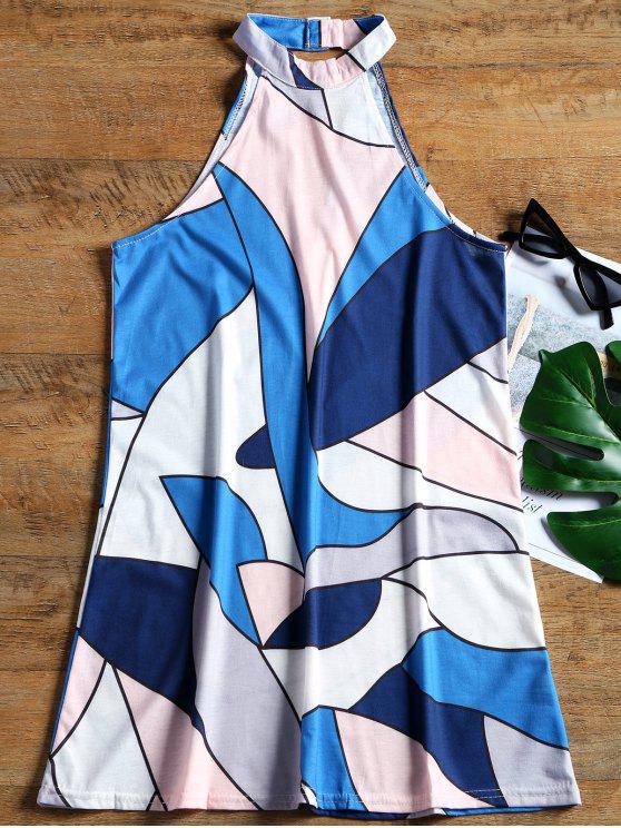 فستان مصغر بلا أكمام ذو فتحات طباعة هندسية - أزرق M