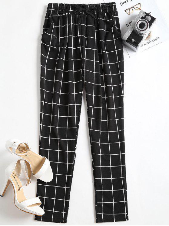 shops High Waist Drawstring Gingham Pants - BLACK L