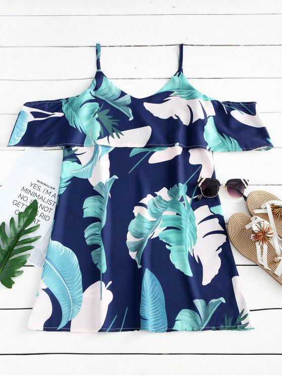 فستان مصغر كامي مستقيم  طباعة الأوراق - ازرق غامق M