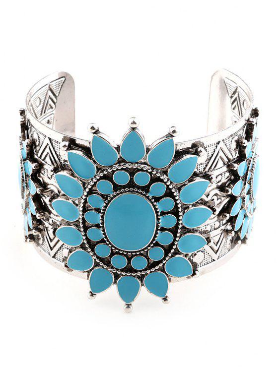 new Vintage Roman Pattern Floral Cuff Bracelet - SILVER