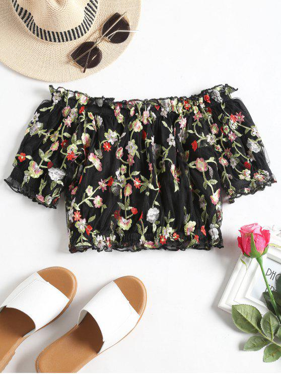 Off Shoulder Floral Embroidered Mesh Blouse