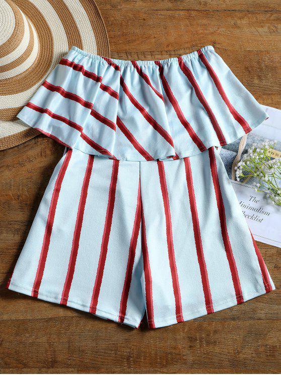 trendy High Waist Striped Strapless Romper - LIGHT BLUE M