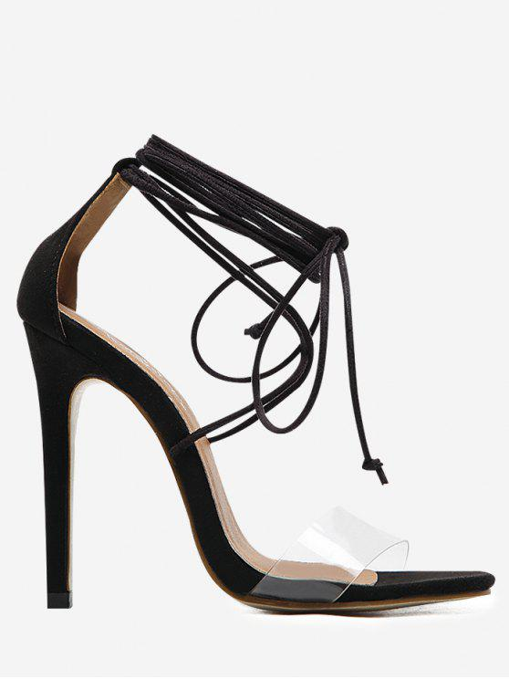 Ankle Strap Stiletto Heel Sandals - Black - 40