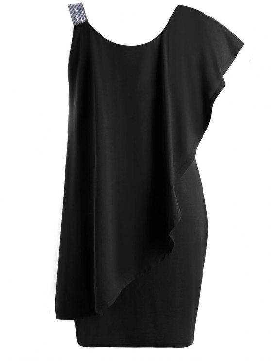 Plus Size One Shoulder Flounce Mini Dress Black Plus Size Dresses