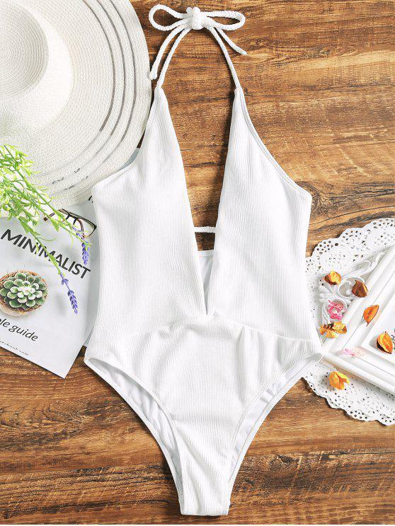 Costume Da Bagno A Costine In Tinta Unita Con Halter A Scollo Profondo - Bianco L