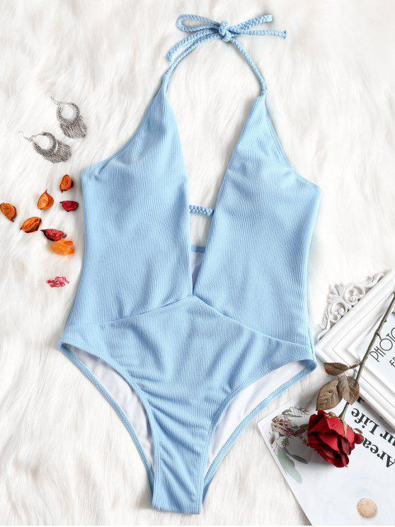 Costume Da Bagno A Costine In Tinta Unita Con Halter A Scollo Profondo - Blu Chiaro S
