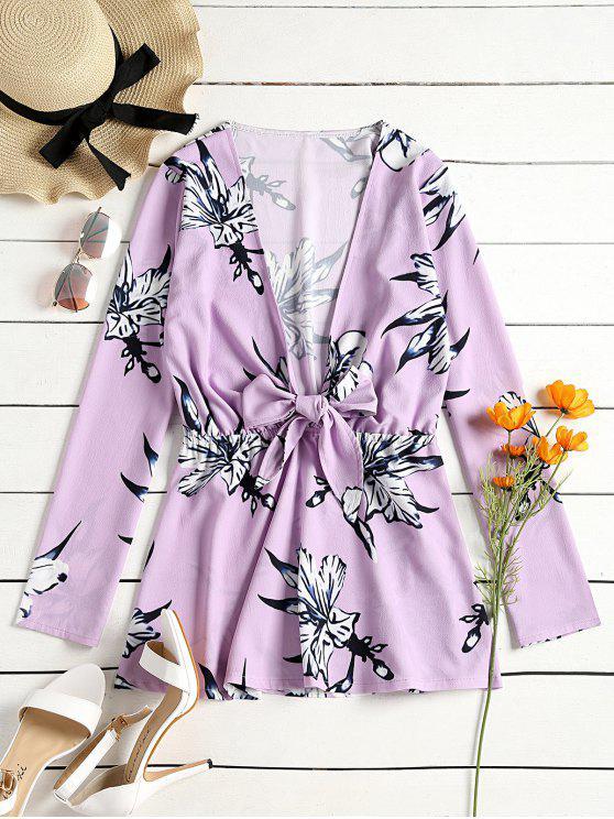 buy Floral Print Tied Plunge Mini Dress - LIGHT PURPLE S