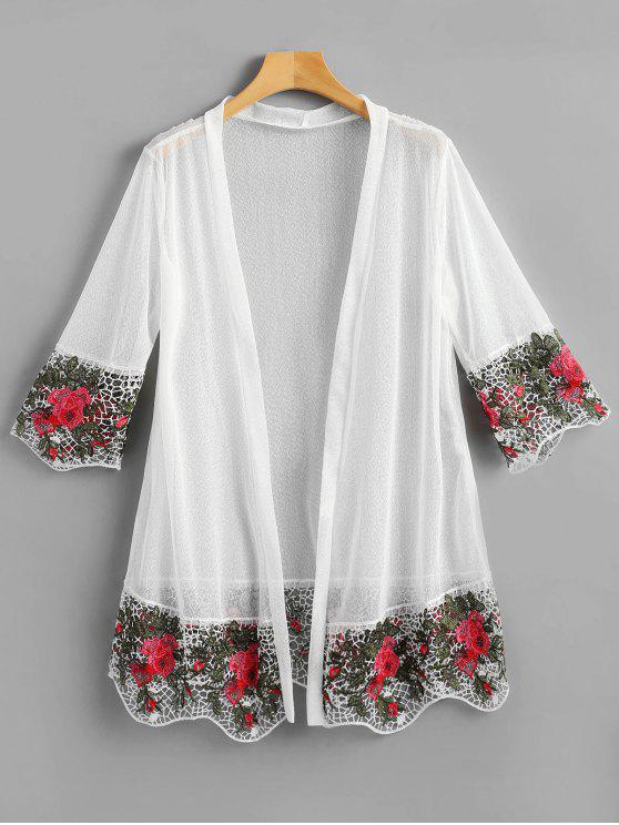 buy Floral Openwork Sheer Mesh Cardigan - WHITE ONE SIZE
