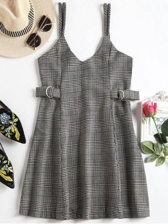 trendy Houndstooth Mini Flared Cami Dress - HOUNDSTOOTH M