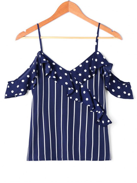 best Ruffle Polka Dot Striped Slip Blouse - CERULEAN S