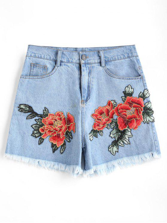 latest Floral Patched Frayed Hem Denim Shorts - LIGHT BLUE L