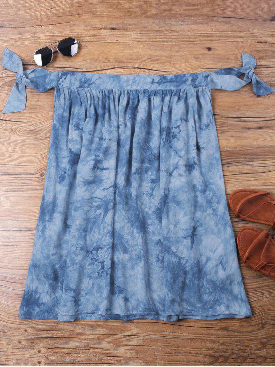 chic Mini Tie Dye Off Shoulder Dress - BLUE S
