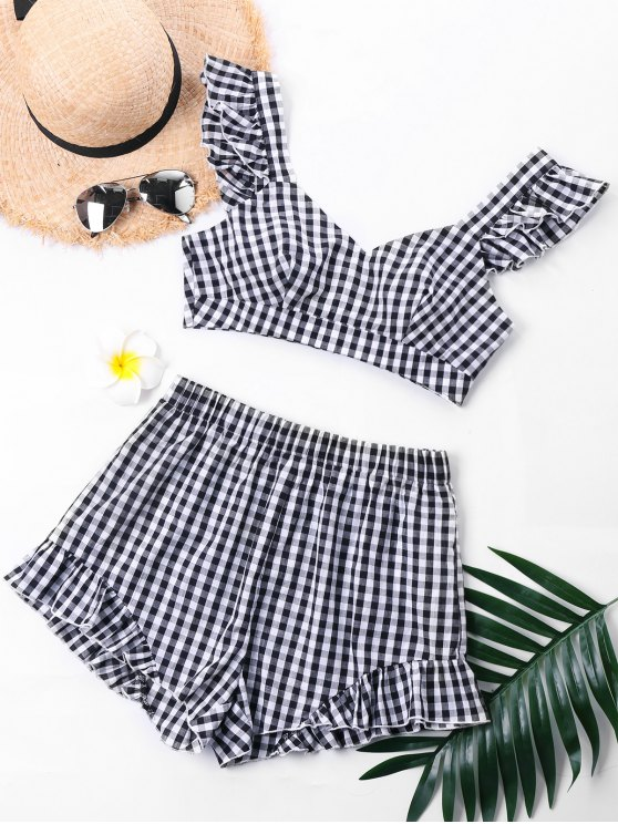 women's Plaid Ruffle Sweetheart Neck Top with Shorts - COLORMIX S
