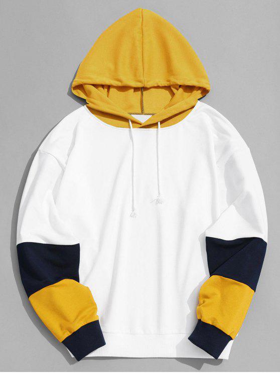 Hoodie do bloco da cor Roupa dos homens - Amarelo S